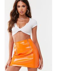 Missguided - Faux Leather Mini Skirt At , Orange - Lyst