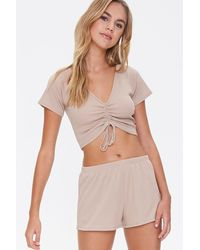 Forever 21 Ribbed Tee & Shorts Lounge Set - Multicolor