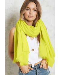 Forever 21 Fringed Oblong Scarf , Yellow