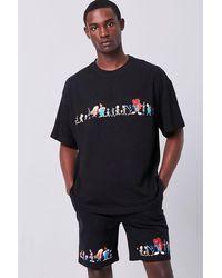 Forever 21 Space Jam Print Drawstring Shorts - Black