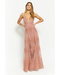 8c3961b51a2 Forever 21 - Flocked Velvet Prom Gown - Lyst
