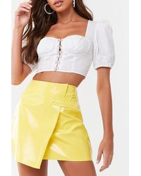 Missguided - Faux Croc Mini Skirt At , Yellow - Lyst