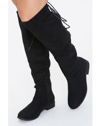 Forever 21 Lace-up Knee-high Boots - Black