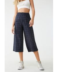 Forever 21 - Grid Print Ankle Pants , Navy/white - Lyst