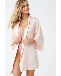 Forever 21 Belted Satin Robe , Blush - Pink