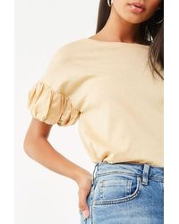 Forever 21 Gathered Sleeve Top - Yellow