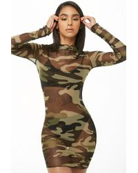 ab3974589b290 Nasty Gal You Mesh Believe It Camo Dress - Lyst