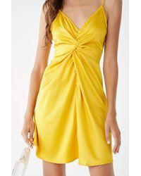 Forever 21 - Satin Twist-front Mini Dress - Lyst