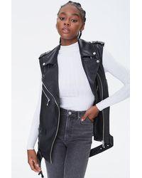 Forever 21 Faux Leather Moto Vest - Black