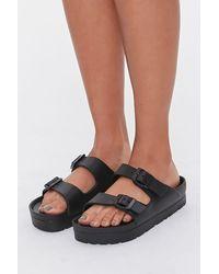 Forever 21 Buckled Flatform Sandals - Black