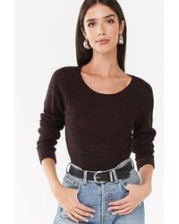 Forever 21 - Marled Longline Sweater , Chocolate/taupe - Lyst
