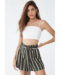 Forever 21 Striped Paperbag Shorts , Olive/white