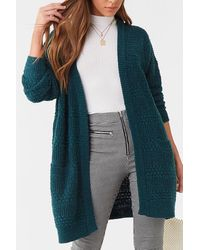 Forever 21 Open-front Longline Cardigan - Blue