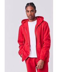 Forever 21 Fleece Zip-up Hoodie - Red