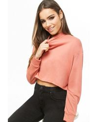 Forever 21 High-low Mock Neck Top , Salmon - Multicolour