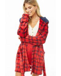 Forever 21 - Hooded Plaid Plush Robe - Lyst