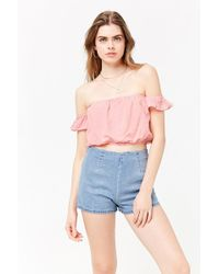 Forever 21 - Striped Off-the-shoulder Crop Top - Lyst