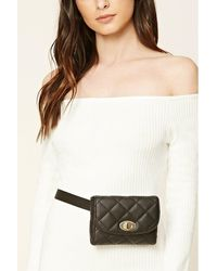 Forever 21 Quilted Faux Leather Fanny Pack - Black