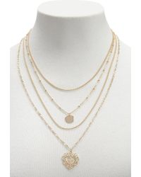 Forever 21 - Layered Heart Cross Necklace - Lyst