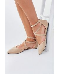 Forever 21 Strappy Pointed Toe Flats , Taupe - Brown