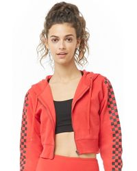 Forever 21 - Active Checkered Drawstring Hoodie , Red/black - Lyst