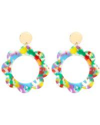 Forever 21 Multicolour Floral Hoop Drop Earrings , Gold/multi