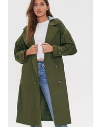 Forever 21 Hooded Double-breasted Trench Co - Green