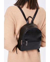 Forever 21 Faux Croc Leather Backpack In Black