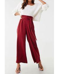 Forever 21 Wide-leg Paperbag Pants , Burgundy - Red