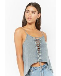 Forever 21 - Lace-up Crescent Hem Top - Lyst