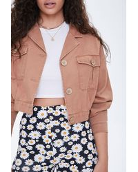 Forever 21 Cropped Twill Jacket - Multicolor