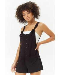 Forever 21 - Linen-blend Button-front Playsuit - Lyst