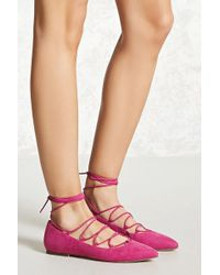 Forever 21 - Faux Suede Lace-up Flats - Lyst