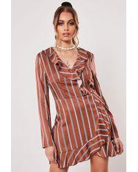 Missguided Striped Mini Dress At , Rust/multi - Red