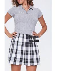 Forever 21 Pleated Plaid Skirt - White