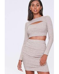 Forever 21 Ribbed Crop Top & Skirt Set - Multicolor