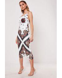 Missguided Satin Cowl Midi Dress At , White/multi