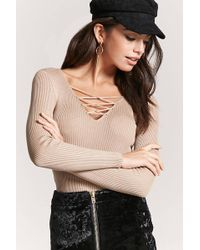 Forever 21 | Lace-up Ribbed Sweater | Lyst