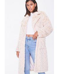 Forever 21 Faux Fur Longline Co - Natural