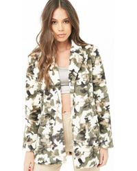 Forever 21 Faux Fur Camo Coat , Olive - Green