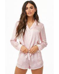 Forever 21 - Striped Satin Pyjama Set - Lyst