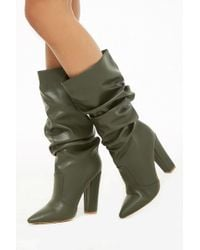 Forever 21 Shoe Republic Slouchy Faux Leather Boots , Olive - Green