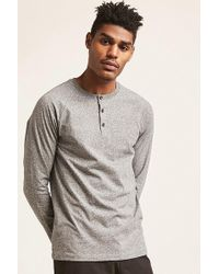 Forever 21 - 's Marled Henley Top - Lyst