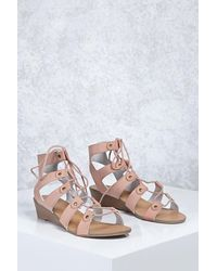 Forever 21 Leather Caged Wedges , Blush - Multicolour