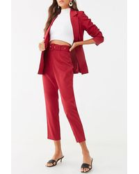 Forever 21 Blazer & Pants Set , Burgundy - Red