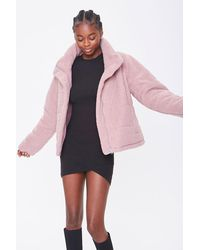 Forever 21 Faux Shearling Zip-up Co - Purple
