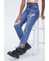 Forever 21 Distressed Boyfriend Jeans In Medium Denim, Size 25 - Blue