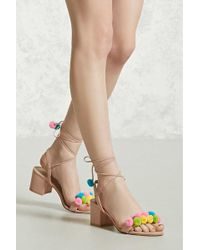 Forever 21 - Pom-pom Faux Suede Heels - Lyst
