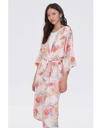 Forever 21 Floral Print Kimono - Pink