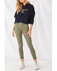 Forever 21 - Twill Ankle-zip Pants , Olive - Lyst